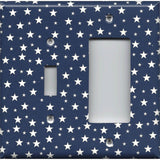 Combo Light Switch and Rocker GFI Outlet Cover in Navy Blue & White Stars Americana Night Sky
