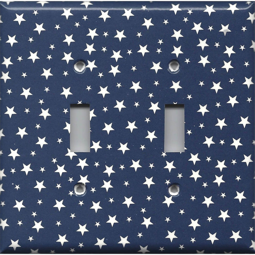 Double Light Switch Plate in Navy Blue & White Stars Americana Night Sky Handmade- Simply Chic Gal