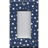 Single Rocker Decora GFI Outlet Cover in Navy Patriotic Americana Night Sky Stars- Simply Chic Gal