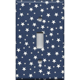 Single Light Switch Plate in Navy Blue & White Stars Americana Night Sky Handmade- Simply Chic Gal