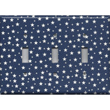 Triple Light Switch Cover in Navy Patriotic Americana Night Sky Stars