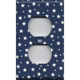 Wall Outlet Cover in Navy Blue & White Stars Americana Night Sky Handmade- Simply Chic Gal