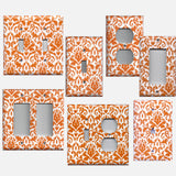 Orange & White Floral Damask Handmade Light Switch Plate Covers & Outlet Covers- Simply Chic Gal