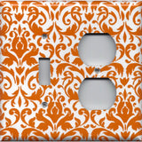 Combo Light Switch and Outlet Cover in Orange & White Floral Damask Handmade- Simply Chic Gal
