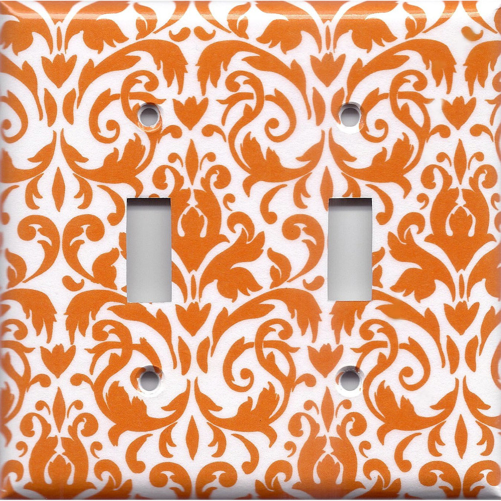 Double Light Switch Plate Cover in Orange & White Floral Damask Handmade- Simply Chic Gal