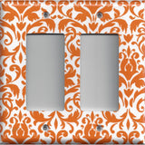 Double Rocker Decora Light Switch Cover in Orange & White Floral Damask Handmade- Simply Chic Gal