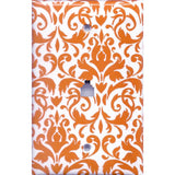 Phone Jack Cover in Orange & White Floral Damask Handmade- Simply Chic Gal