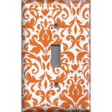 Single Light Switch Plate Cover in Orange & White Floral Damask Handmade- Simply Chic Gal