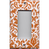 Single Rocker Decora GFI Outlet Cover in Orange & White Floral Damask Handmade- Simply Chic Gal