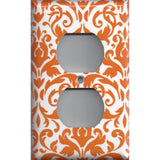 Wall Outlet Plug Cover in Orange & White Floral Damask Handmade- Simply Chic Gal
