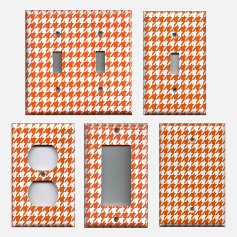 Bright Orange & White Houndstooth Light Switch Plates & Outlet Covers