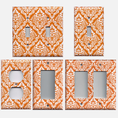 Burnt Orange & White Damask Floral Light Switch Plates & Outlet Covers