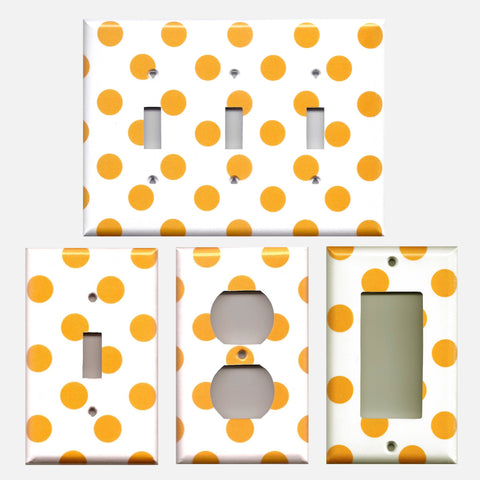 Tangerine Orange Polka Dots Handmade Light Switch Covers & Wall Outlet Covers- Simply Chic Gal