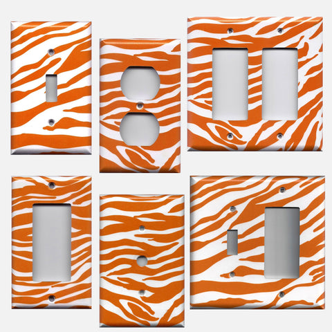 Orange & White Bengal Tiger Stripes Animal Print Light Switchplates & Outlet Covers