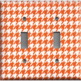Double Toggle Light Switch Cover in Burnt Orange & White Houndstooth