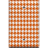 Single Blank Cover in Burnt Orange & White Houndstooth