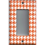 Single Rocker Decora GFI Outlet Cover in Burnt Orange & White Houndstooth