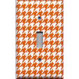 Single Toggle Light Switch Cover in Burnt Orange & White Houndstooth