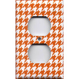 Wall Outlet Cover in Burnt Orange & White Houndstooth