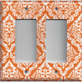 Double Rocker Decora Light Switch Cover in Burnt Orange & White Damask Floral