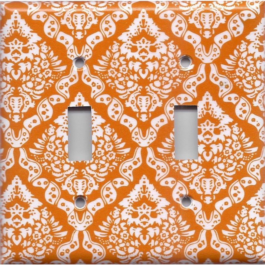Double Light Switch Cover in Burnt Orange & White Damask Floral Print