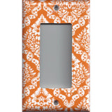 Single Rocker Decora GFI Outlet Cover in Burnt Orange & White Damask Floral Print