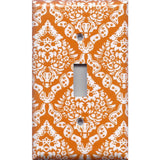 Single Light Switch Plate Cover in Burnt Orange & White Damask Floral Print