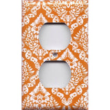 Wall Outlet Cover in Burnt Orange & White Damask Floral Print