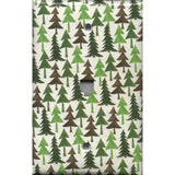 Phone Jack Cover in Pine Tree Forest Rustic Log Cabin Decor
