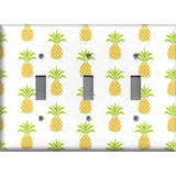 Triple Toggle Light Switch Plate in Tropical Pineapple Hawaiian Decor