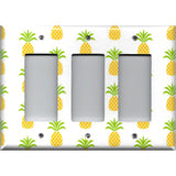 Triple Rocker Decora Light Switch Cover in Tropical Pineapple Hawaiian Decor