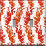 Double Toggle Light Switch Cover in Hawaiian Pineapples Red & Orange Tropical Decor- Simply Chic Gal
