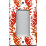 Sinlge Rocker Decora GFI Outlet Cover in Hawaiian Pineapples Red & Orange Tropical Decor