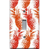 Single Toggle Light Switch Cover in Hawaiian Pineapples Red & Orange Tropical Decor- Simply Chic Gal