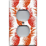 Wall Outlet Cover in Hawaiian Pineapples Red & Orange Handmade Tropical Decor- Simply Chic Gal