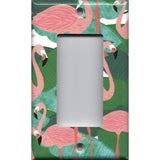 Single Rocker Decora GFI Outlet Cover in Pink Flamingo Palm Leaf Botanical Print