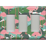 Triple Rocker Decora GFI Outlet Cover in Pink Flamingo Palm Leaf Botanical Print
