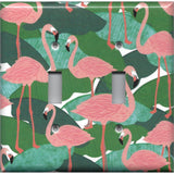 Double Toggle Light Switch Plate Cover in Pink Flamingo Palm Leaf Botanical Print