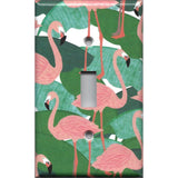 Single Toggle Light Switch Plate Cover in Pink Flamingo Palm Leaf Botanical Print
