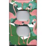 Wall Outlet Plate Cover in Pink Flamingo Palm Leaf Botanical Print