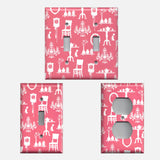 Pink & White French Decor Furniture Light Switch Covers and Outlet Covers