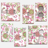Hot Pink & Green Retro Floral/Flowers Hippie 60's Switch Plates & Outlet Covers