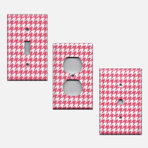 Blush Pink & White Houndstooth Hand Made Light Switchplates & Outlet Covers