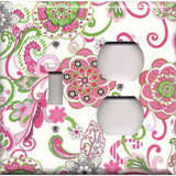 Combo Light Switch and Outlet Cover in Hot Pink & Green Retro Floral Print
