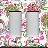 Double Rocker Decora Light Switch Cover in Hot Pink & Green Retro Floral Print