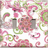 Double Toggle Light Switch Plate in Hot Pink & Green Retro Floral Print