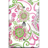 Phone Jack Cover in Hot Pink & Green Retro Floral Print