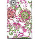 Single Blank Cover in Hot Pink & Green Retro Floral Print