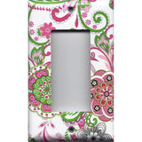 Single Rocker Decora GFI Outlet Cover in Hot Pink & Green Retro Floral Print