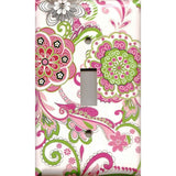 Single Toggle Light Switch Cover in Hot Pink & Green Retro Floral Print